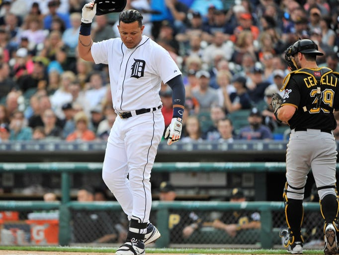 Detroit Tigers' Miguel Cabrera appears to think about