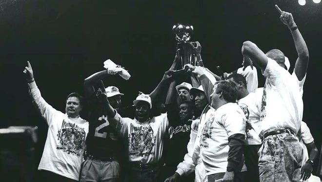 The Bad Boys celebrate the Pistons' first NBA title in 1989.