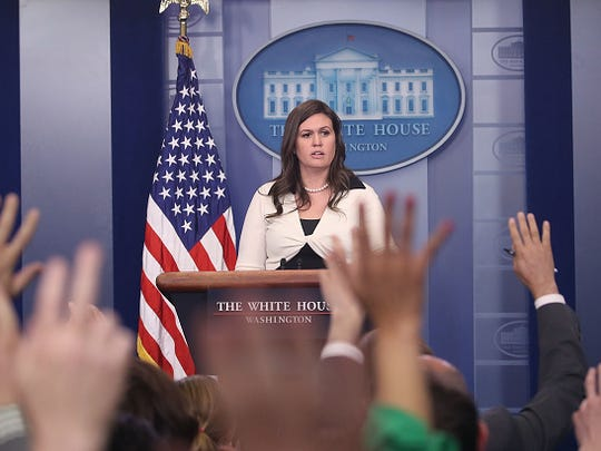 White House deputy press secretary Sarah Huckabee Sanders, speaks during press briefing on May 11 in Washington, D.C.