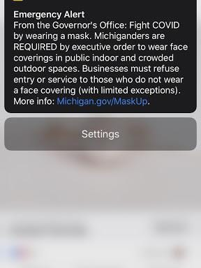 A screenshot of the emergency alert sent on Monday, July 13, reminding Michiganders about Gov. Gretchen Whitmer's latest mask requirement executive order. State Rep. Bradley Slagh, R-Zeeland, plans on introducing legislation specifying what the emergency alert system can be used for.