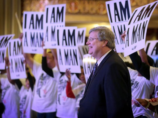 Memphis Mayor Jim Strickland poses with the crowd gathering for an I Am A Man commemoration rally at the Orpheum. Hundreds turned out for motivational speakers, spoken word performances and live music.