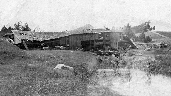 SNAPSHOT IN TIME: Fellows' dam and mill at Foscoro — now Stony Creek — was deteriorated when this photo was taken over 100 years ago. Years earlier, in April 1875, a break was discovered before the dam could be destroyed. The breach was discovered just as the schooners Mt. Vernon and Two Kitties were chartered to take a cargo of ties from Foscoro to Chicago. Driving along County U today, there is nothing to suggest the noteworthy maritime history along the lake north of Algoma. The photo comes from a private collection.