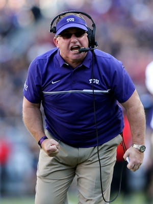 TCU Horned Frogs head coach Gary Patterson reacts during the first half against the Oklahoma Sooners at Amon G. Carter Stadium.