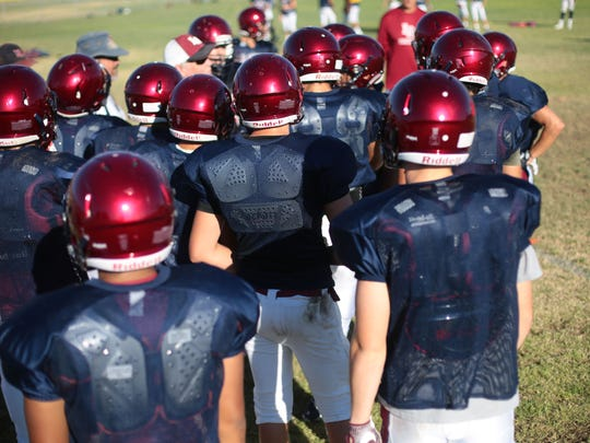 The La Quinta football team practice on Tuesday, August 16, 2016 in La Quinta.