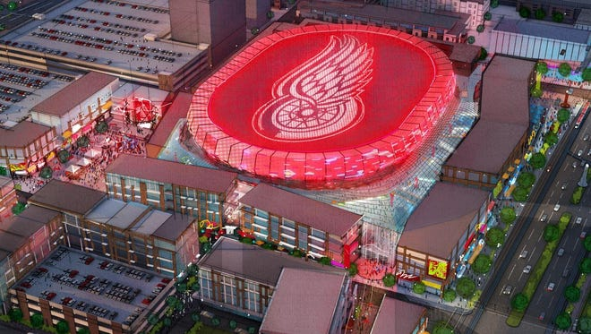 A rendering of the new Detroit Red Wings hockey arena to be built just north of downtown. The $450-million arena is 58% publicly funded.
