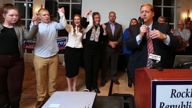 George Hoehmann speaks after winning the Clarkstown Supervisor race at the Pearl River Hilton on Tuesday.