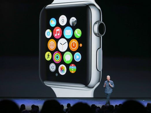 Tim Cook, Apple CEO, talks about the Apple Watch during an Apple special event at the Flint Center for the Performing Arts on Tuesday, Sept. 9 in Cupertino, Calif.