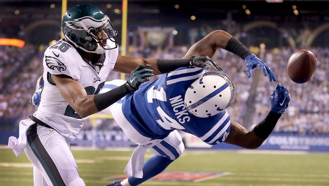 Indianapolis Colts Hakeem Nicks fails to make a reception as Philadelphia Eagles Cary Williams plays tight defense in the first half. The Indianapolis Colts play the Philadelphia Eagles Monday, September 15, 2014, evening at Lucas Oil Stadium.