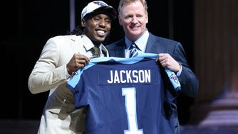 Apr 27, 2017; Philadelphia, PA, USA; Adoree' Jackson (USC) poses with NFL commissioner Roger Goodell (right) as he is selected as the number 18 overall pick to the Tennessee Titans in the first round the 2017 NFL Draft at the Philadelphia Museum of Art. Mandatory Credit: Bill Streicher-USA TODAY Sports