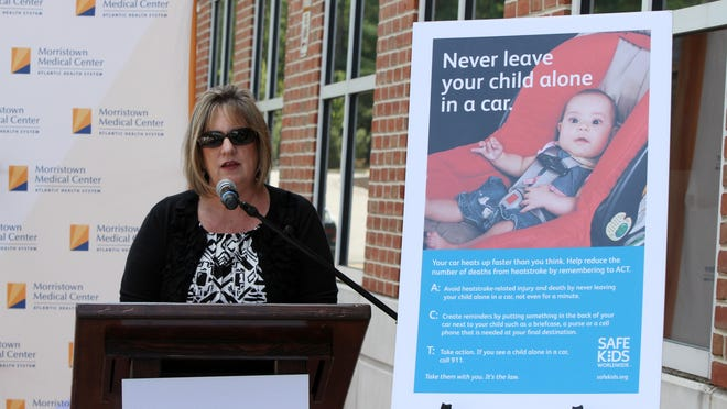 Carol Ann Giardelli, director of Safe Kids New Jersey, talks during a demonstration at Morristown Medical Center showing how hot it can get in a vehicle.