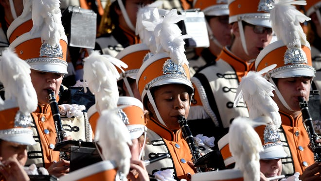 The Pride of the Southland Band performs before Tennessee takes on Missouri at Neyland Stadium on Saturday, Nov. 19, 2016.