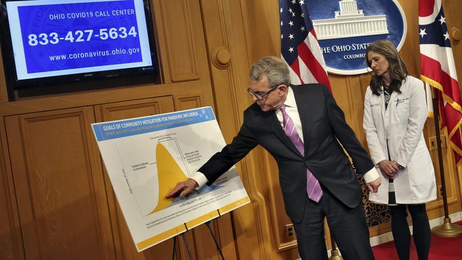 In this March 10, 2020 file photo, Gov. Mike DeWine points to a graph depicting what could happen with the outbreak if the coronavirus is neglected. DeWine,  Dr. Amy Acton, who was director of the Ohio Department of Health at the time, and Sima Merick, the director of the Ohio Emergency Management Agency, spoke at the  press conference at the Ohio Statehouse.