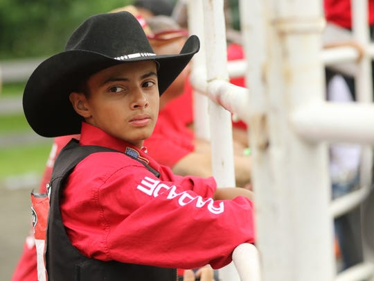 At 17 years of age, Ricardo Mena of Trenton was the youngest bullrider in Pompton Plains on Sunday.