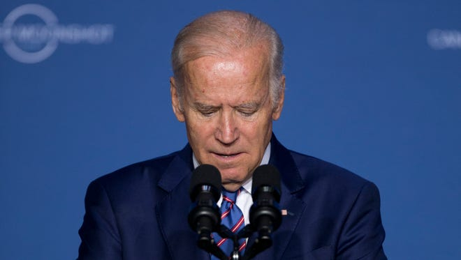 Vice President Biden pauses as he speaks at the Cancer Moonshot Summit at Howard University in Washington, Wednesday.
