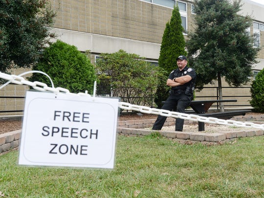 "The ""free speech zone"" was empty as people filed into Ferguson Auditorium to hear Bree Newsome, an activist and public speaker, at A-B Tech September 29, 2017."