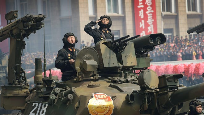 Soldiers in tanks are paraded on the Kim Il Sung Square during an April military parade in Pyongyang, North Korea, to celebrate the 105th anniversary of the birth of Kim Il Sung, the country's founder and grandfather of current ruler Kim Jong Un.
