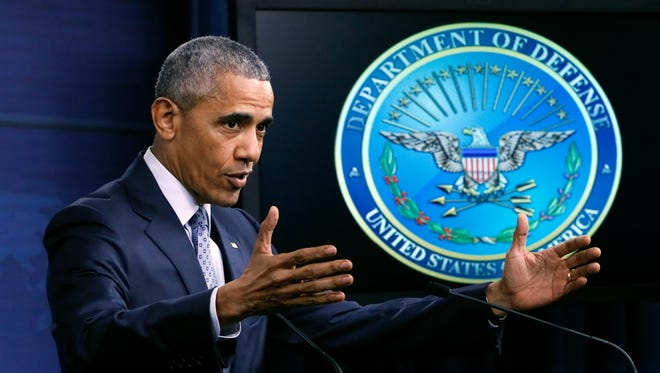 President Obama holds a news conference at the Pentagon Aug. 4, at which he answered a question about classified intelligence briefings for presidential candidates.