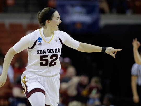 Arizona State forward Jamie Ruden (52) celebrates a
