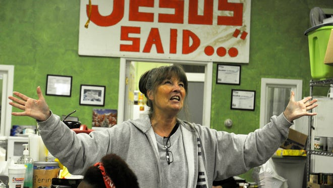 """Carole Johnston of Novi was inspired by a 1998 story about Kay, an addict living in Brightmoor, and went on to found a storefront mission in the neighborhood and befriend Kay.<252> <137>living at the Brightmoor Prayer Mission on Fenkell in Detroit, where she says her work and her """"prayer is that they all have the chance to meet Jesus in a wonderful way."""" <137>"""