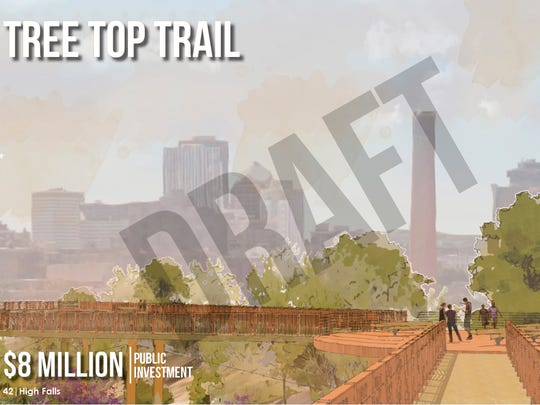 Among the Roc the Riverway concepts being discussed is an $8 million tree-top trail network in the High Falls gorge building off the old train trestle, which the city acquired in 2012.