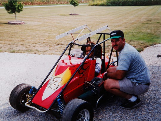 Race car driver Sara Elrod with her father, Bill