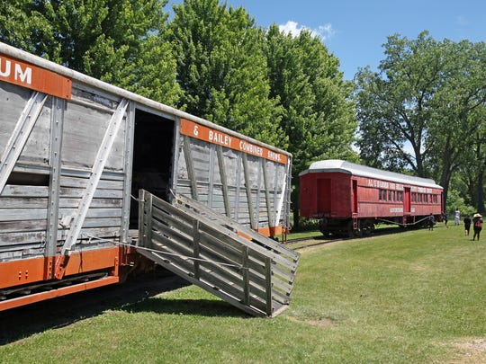 Visitors can climb inside old circus train cars at Circus World in Baraboo.