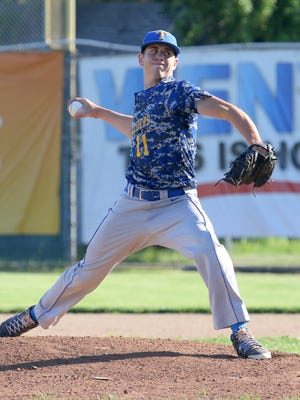 Trumansburg's Trevor Rumsey delivers a pitch against Tioga in the IAC Small School championship game at Dunn Field last year.