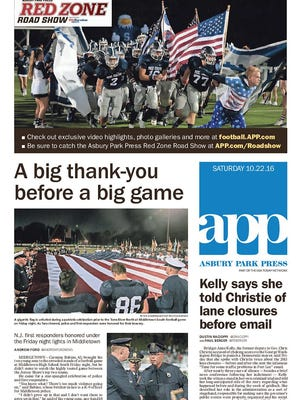 Asbury Park Press front page, Saturday, Oct. 22, 2016