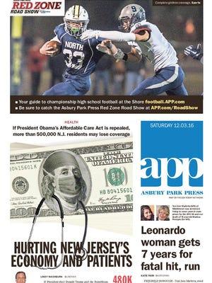 Asbury Park Press front page, Saturday, Dec. 3, 2016