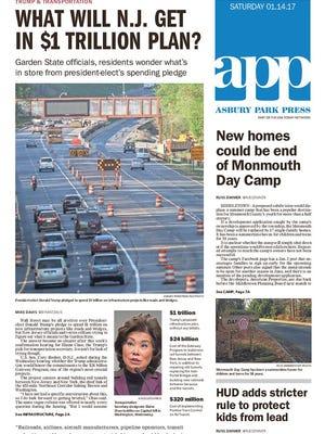 Asbury Park Press front page, Saturday, Jan. 14, 2017