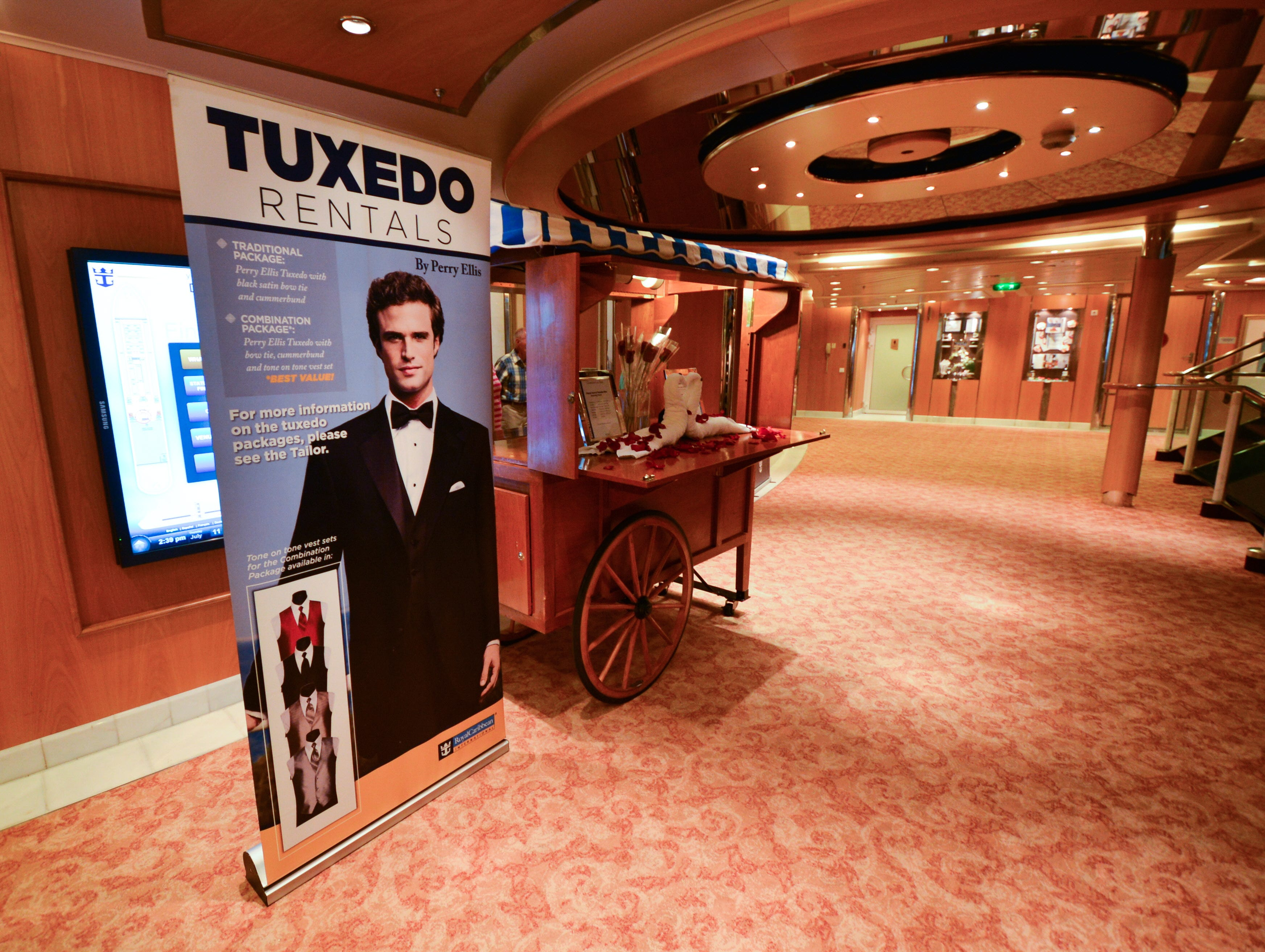 Grandeur of the Seas offers tuxedos for rent for formal nights on the ship.