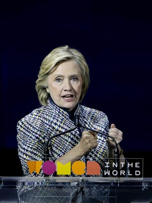 Hillary Clinton addresses the Annual Women in the World Summit on Thursday in New York.