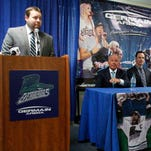 From left, Florida general manager/president Craig Brush, new Everblades head coach Brad Ralph and associate head coach Tad O'Had