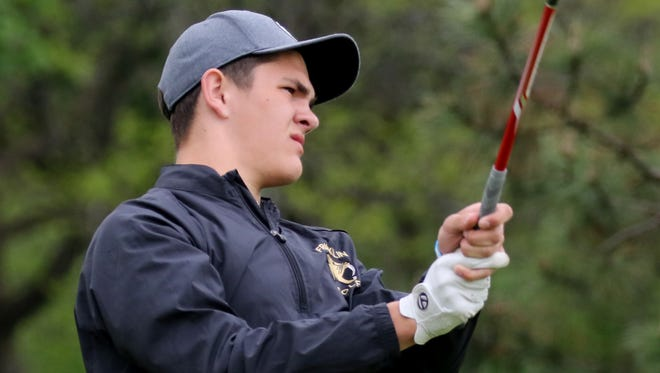 Franklin's Nolan Ruffing tees off in the WIAA regional meet at Brown Deer Golf Course on May 23.