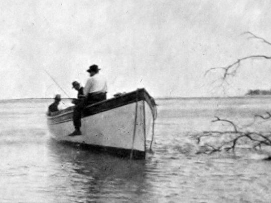 In 1904, former President Grover Cleveland and his physician, Dr. Joseph Bryant, with fishing guide Hubert Bessey, enjoy a day on the river during one of his many visits to Stuart.