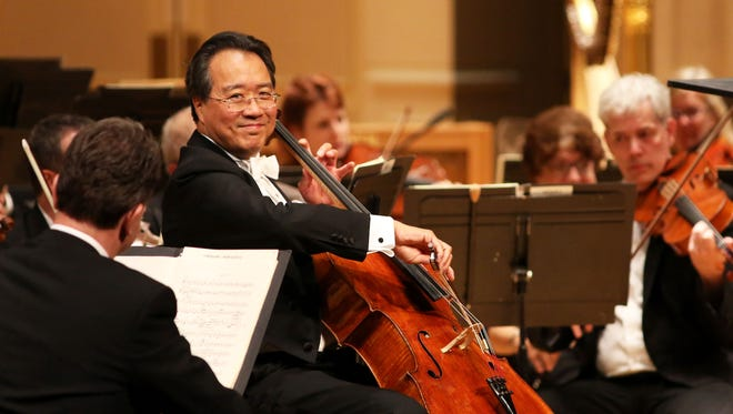 Yo-Yo Ma performs with Cincinnati Symphony Orchestra in front of a sold-out crowd at Music Hall Wednesday.