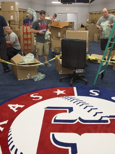 Renovation continues in the Texas Rangers' locker room, February 11, 2016, at Surprise Stadium, 15930 N. Bullard Ave, Surprise, Arizona.