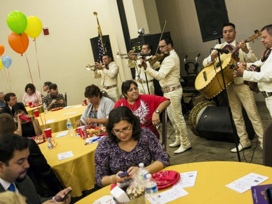 The mariachi band Rey Azteca plays at the Hispanic Gala. The Lebanon Valley Chamber of Commerce partnered with HACC, the City of Lebanon and Juntos de Lebanon to offer Lebanon's first community-wide Hispanic Gala on Wednesday, Oct. 7, from 5 to 8:30 p.m. at HACC's Lebanon The event featured networking, entertainment, authentic Latino cuisine, a Mariachi band, and a DJ for dancing.   Proceeds raised from the gala will go to fund scholarships for local ESL students. Jeremy Long -- Lebanon Daily News