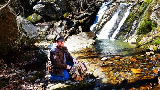 Self-portrait of photographer Mike Tripp during a visit to Jones Run Falls located in the Shenandoah National Park.