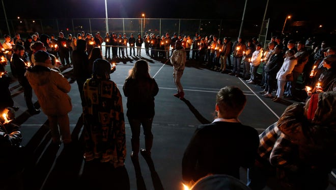 Friends and family gather to celebrating the life of Zech Miles at Meador Park in Springfield on Feb. 2, 2017
