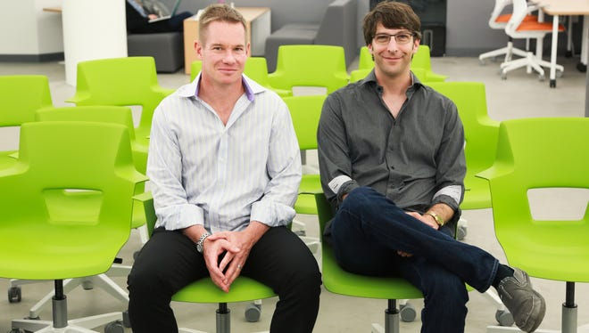 Center Electric co-founder Jay Adelson (right), native Detroiter, entrepreneur and venture capitalist based in San Francisco, and Andy Smith, General Partner of Center Electric, pose for a photo at Techstars Mobility office in Detroit.