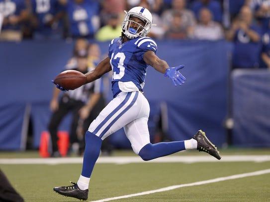 Indianapolis Colts wide receiver T.Y. Hilton (13) begins