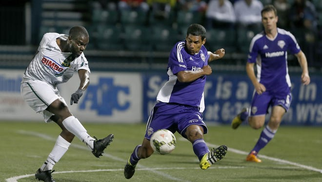 Rhinos midfielder Kenardo Forbes, shown in a match earlier this year, converted on a loose ball in front to tie Sunday's match at the Bethlehem Steel at 1.