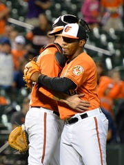 Baltimore Orioles relief pitcher Mychal Givens (60) celebrates with catcher Matt Wieters (32) after defeating Toronto Blue Jays 8-1 at Oriole Park at Camden Yards.