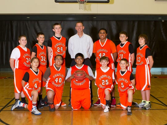 The Silverland Middle School seventh grade boys basketball team finished the season with a 5-3 record in the Sagebrush League. Pictured, left to right, first row, are Lonnie Halterman, Manoa Hale, Eathan Wadsworth, Miles Steele, Trvor Hargett; second row, Chris Hatch, Mathew Glover, Drew Miller, Dave Burns, Jaden Whyms, Guylar Unger and Logan Kibbe. Not pictured is James Huckaby.