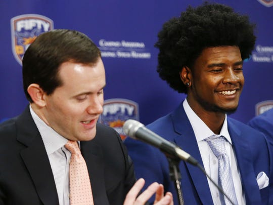 Suns GM Ryan McDonough (left) strongly implied influencing Josh Jackson's decision not to work out for the Boston Celtics before Thursday's NBA draft.