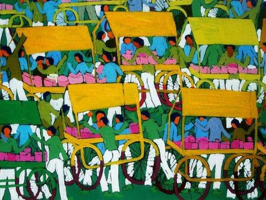 Painting by Ranjan Kumar, on display at Sutra Gallery,