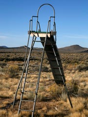 A ancient slide sits near the Modena schoolhouse Wednesday,