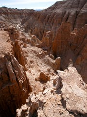 Looking down from atop Miller's Point, the view of the geologic formations carved by he forces of erosion is breathtaking.