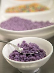 The lavender Jerusalem Couscous from Angel Pasta is colored with all-natural colors, which intensify when the pasta is cooked.